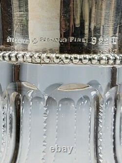 Cut Glass Abp Vase Sterling Silver Rim 925/1000