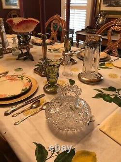 Cut Glass Flower Center Vase American Brilliant Period Arkansas Estate