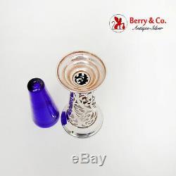 Cut Work Trumpet Vase Cobalt Glass Insert Watrous Sterling Silver 1910