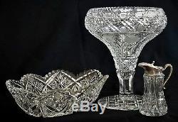 Cut glass Tazza Vase, Compote, Harvard, flower, American brilliant, c1910, 10