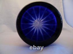 Czech Bohemian Vintage Cobalt Blue Cut to Clear Crystal Cut Glass Vase