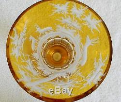 Czech pair of art glass vases amber cut to clear deer forest