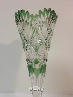 DORFLINGER American Brilliant Cut Glass 12 Trumpet Vase, c. 1900