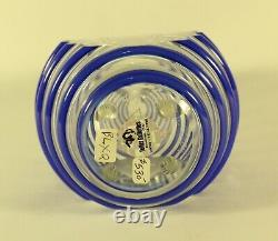 David Lindsay Art Glass Studios Threaded Cut Glass vase Vessel Signed 2004