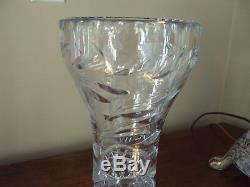 Dazzling Antique American Brilliant Cut Glass Corset Vase 12 Tall Crystal RARE
