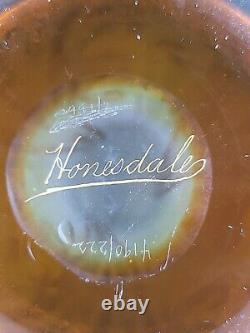Dorflinger Honesdale Yellow Cut to Iridescent Cameo Glass Vase 13 No Reserve