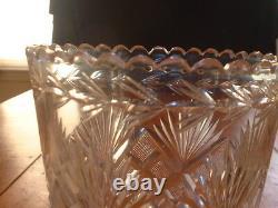 Early19ThC Pittsburgh Glass Co. Cut Glass Celery Vase in Strawberry Diamond &Fan