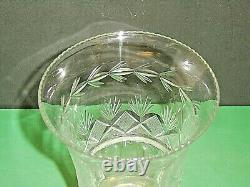 Early 19thC Pittsburgh Glass Co. Cut Glass Strawberry Diamond & Fan Celery Vase