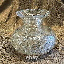Early American Brilliant Period ABP Step Cut 8.5 Clear Glass Vase