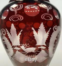 Egermann Bohemian Castle Crystal Glass Ruby Cut to Clear Vase Large