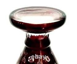 Egermann Bohemian Cut to Clear Ruby Red Large 12 Crystal Glass Vase