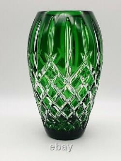 Estate Waterford Cut Crystal Araglin Prestige 7 Emerald Green Cut To Clear Vase