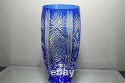 Exquisite Vintage Bohemian Czech Cobalt Blue Cut To Clear Crystal 11 Vase MINT