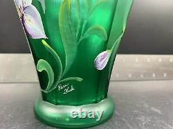 Fenton Glass Lily Cut Emerald Green Designer Showcase Series Flower Vase Signed