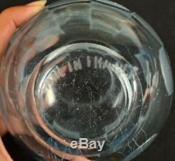 French Art Deco Blue Glass Vase Deeply Acid Cut Back Signed France