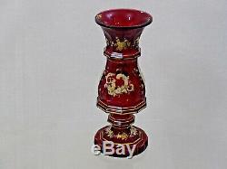 GORGEOUS ANTIQUE BOHEMIAN RED GLASS VASE GOLD / WHITE ENAMEL HAND CUT Moser 19c