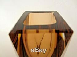 Geometric Murano sommerso futuristic prism cut faceted art glass vase perfect