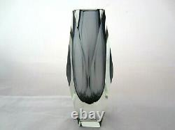 Geometric Murano sommerso grey futuristic prism cut faceted glass vase perfect