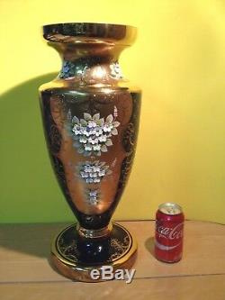 Gorgeous Large Bohemian Czech Cobalt Blue Enamel Hand Cut Crystal Vase 20 Tall