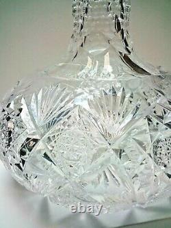 HAWKESAmerican Brilliant GlassDecanterVaseGladys Pattern7EXCELLENT