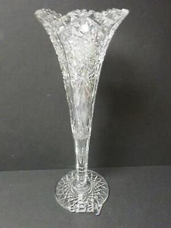 HAWKES American Brilliant Cut Glass 17.5 Trumpet Vase