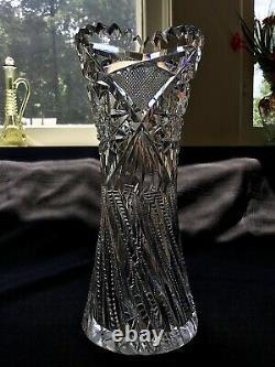 H. C Fry American Brilliant Cut Glass 8 Vase c. 1905- Estelle Variation / Argon