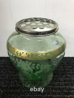 Hawkes Crystal Vase Cut Green Top With Flowers Frog & Leaves