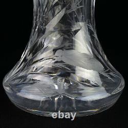 Hawkes Gravic Cut Iris Large Fluted Vase, Signed Antique ABP Brilliant Cut 11