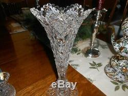 Hawkes Signed Brilliant Cut Glass Vase Trumpet Style 12 Exceptional