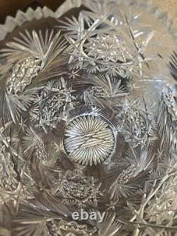Heavy Decorated Cut Glass Crystal Vase