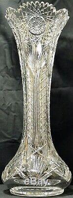 Huge Antique Abp Signed Clark 18 Camellia Pattern Super Heavy Cut Glass Vase