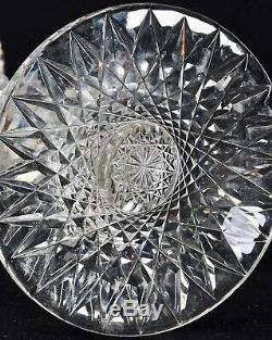 Huge Antique Abp Signed Hawkes 16 Navarre Pattern Super Heavy Cut Glass Vase