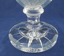 Huge Antique Silver Bohemian Hand Cut Crystal Footed Vase 13 3/4 Germany c. 1880