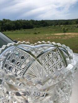 Huge Vintage Heavy Cut Lead Crystal Vase