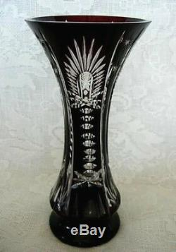 Impressive Dark Ruby Red Crystal Hand Blown Glass Cut-to-Clear Vase- Estate Item