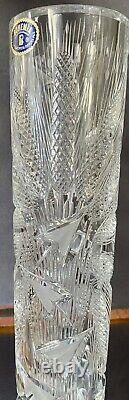 JOSEF SVARC XL CZECH BOHEMIAN CRYSTAL Hand Cut Vase Signed Glass Mid-Century