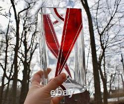 Karl Palda Art Deco Geometric Bohemian Enamel Cut Crystal Vase Bergdorf Goodman