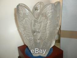 LALIQUE CHRYSALIDE Crystal Vase Large Clear hand cut female nude frosted