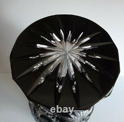 LARGE RUSSIA CASED CUT TO CLEAR CRYSTAL VASE, BLACK, ca, 15 3/5 tall