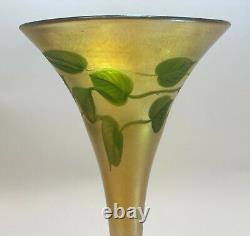 LCT Louis Comfort Tiffany Heart Vine Intaglio Cut Glass Trumpet Vase #1534-589M
