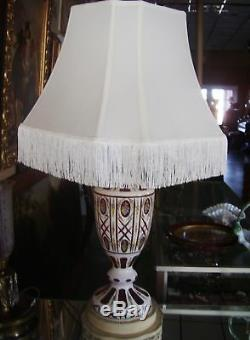 LQQK! C1890 Bohemian Art Cut Red White Color Glass Antique Lamp with Shade