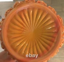 L E Smith Swung Bittersweet Vase 22 Diamond Cut Orange Slag Glass Vintage
