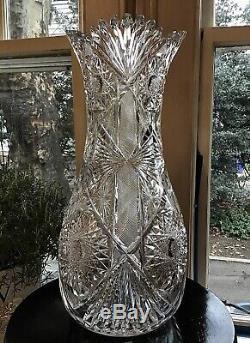 L. Straus & Sons Cut Glass Electra 16 American Brilliant Vase c. 1900