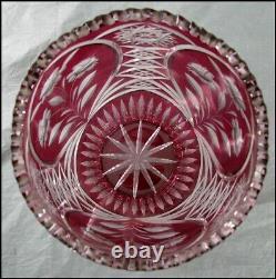 Large 12 Lausitzer Glas Bleikristall Red Cut Glass Vase 24%PbO GDR Germany