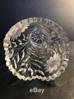 Large Antique ABP American Brilliant Deep Cut Crystal Vase/ Art Nouveau C. 1925