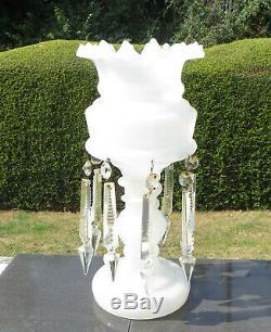 Large Antique Victorian White Opaline Glass Lustre/Mantle Vase with Cut Drops