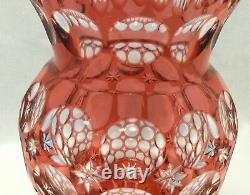 Large Bohemian Hungary Crystal Cranberry Cut To Clear Thumb Print Vase. #1469