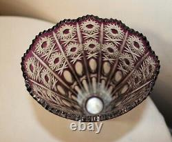 Large Bohemian vintage hand wheel cut to clear purple glass tall crystal vase