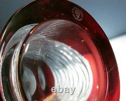 Large CAESAR CRYSTAL Red Vase Hand Cut to Clear Overlay Czech Bohemian Blown