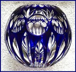 Large COBALT BLUE Rose Bowl Vase CUT TO CLEAR CRYSTAL Nachtmann GERMANY Bamberg